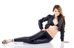 Attractive Brunette in Fashion Leather Jacket Stock Images