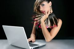 Attractive brunette fashion woman with laptop Stock Photos