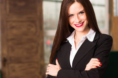 Attractive Brunette Female Business Woman CEO Office Workplace Stock Photos