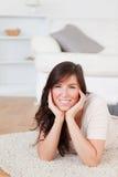 Attractive brunette female posing stock image
