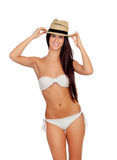Attractive brunette girl with bikini and straw hat Stock Photos