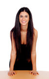 Attractive brunette girl with black dress Royalty Free Stock Photography