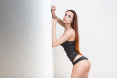 Attractive brunette girl in black lingerie nice butt Royalty Free Stock Photo