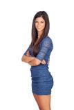 Attractive brunette girl with blue dress Royalty Free Stock Image