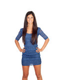 Attractive brunette girl with blue dress Stock Photo