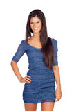 Attractive brunette girl with blue dress Stock Photography