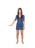 Attractive brunette girl with blue dress Royalty Free Stock Photos