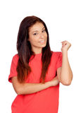 Attractive brunette girl dressed in red Stock Photography