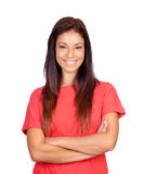 Attractive brunette girl dressed in red Royalty Free Stock Photography