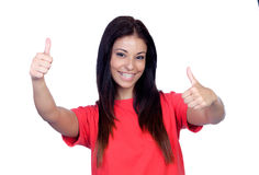 Attractive brunette girl dressed in red saying Ok Stock Photography