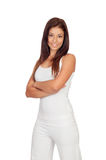 Attractive brunette girl dressed in white Royalty Free Stock Photo