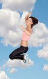 Attractive brunette girl with fitness clothing royalty free stock image