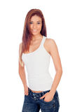 Attractive brunette girl with jeans Royalty Free Stock Photo