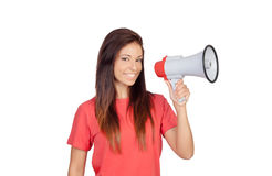 Attractive brunette girl with a megaphone Stock Photography
