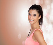 Attractive brunette girl with a pierced nose Stock Photos