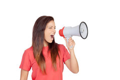 Attractive brunette girl shouting with a megaphone Stock Photos