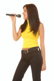 Attractive brunette girl singing Royalty Free Stock Photo