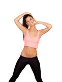 Attractive brunette girl stretching cervical after the training Royalty Free Stock Photos