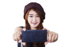 Attractive brunette girl takes a picture Royalty Free Stock Image