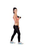 Attractive brunette girl tightening their muscles Royalty Free Stock Photography