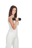 Attractive brunette girl tightening their muscles Royalty Free Stock Photos