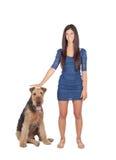 Attractive brunette girl wiht her dog Stock Photos