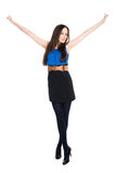 Attractive brunette with hands up, celebrating victory Stock Photos