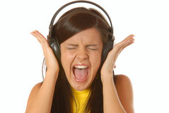 Attractive brunette with headphones Stock Photography