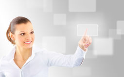 Attractive brunette with interface Stock Images
