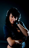 Attractive brunette listening music Royalty Free Stock Image