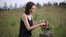 Attractive brunette making a flower arrangement of roses. The girl in a black dress sitting on a summer evening in the field. It uses tools for florist stock video