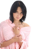 Attractive brunette in pink sweater Stock Photos