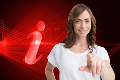 Attractive brunette pointing Royalty Free Stock Images