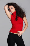 Attractive brunette in red Royalty Free Stock Photos