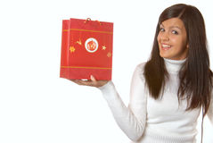 Attractive brunette with a red shopping bag Stock Image