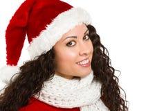 Attractive brunette santa girl smiling. On white background Stock Images
