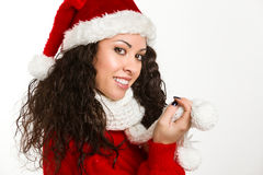 Attractive brunette santa girl smiling. On white background Royalty Free Stock Photo