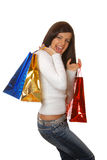 Attractive brunette is shopping Stock Images