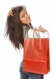 Attractive brunette is shopping Royalty Free Stock Photography