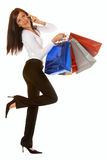 Attractive brunette is shopping Stock Photos