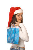 Attractive brunette with shopping bag Stock Images