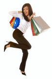 Attractive brunette with shopping bags Stock Photo