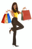 Attractive brunette with shopping bags Stock Images
