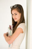 Attractive brunette student girl. Royalty Free Stock Photos