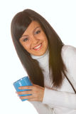 Attractive brunette with teacup Royalty Free Stock Photos