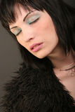 Attractive brunette woman. Eyes shut stock images