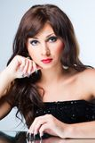 Attractive brunette woman with beautiful manicure Royalty Free Stock Images