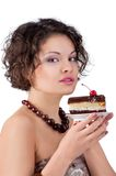 Attractive brunette woman with a cake Royalty Free Stock Images