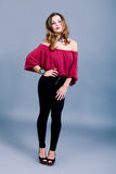Attractive brunette woman in elegant fashion Stock Image
