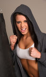Attractive Brunette Woman Female Boxer Sport Athlete Practice royalty free stock images